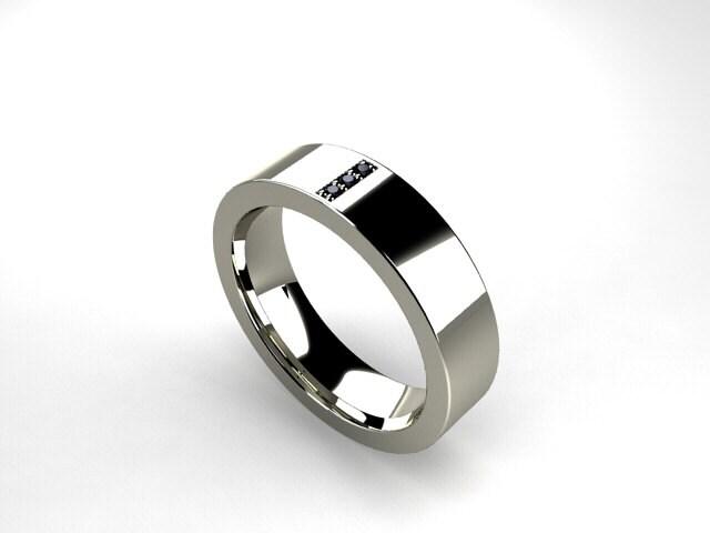 Description. This Modern Menu0027s Wedding Band Combines Polished Palladium  With Black Diamonds.