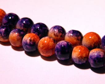 shiny 20 beads marbled glass 2 - 8 mm orange and purple - toned PG42