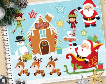 Christmas Clipart - Santa's Workshop, reindeer, north pole, elf, vector graphics, digital clip art, commercial use clipart, SVG cut files