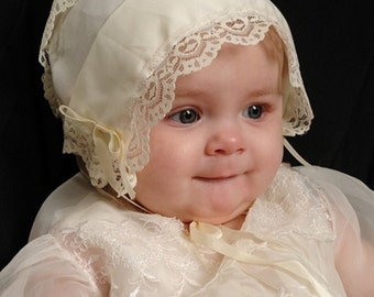 Baby hankie Handkerchief Magic Bonnet turns handkerchief for wedding Ivory hearts