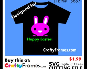 ITEM # CF-3687 - Happy Easter Pink Bunny - SVG Cutting Machine File - Instant Download - Commercial Use - 1.99