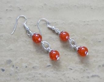 Orange Carnelian Earrings, Orange Earrings, Women's Earrings, Orange Dangles, Gift for her, Mother's gift
