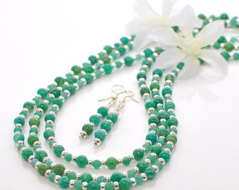 Green Necklace and Earrings Seafoam- Layering Necklace- Double Wrap Necklace- Gift for Mom - Long Beaded Necklace- Necklace Earring Set