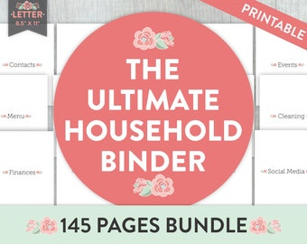 Household Binder, Life Planner, Home Management, Printable Planner, Mom Planner, Home Management Binder, Home Binder, Family, Financial, PDF