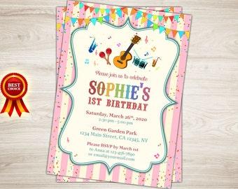 Music Birthday Invitation. Girl Music Party Invitation. Instruments 1st 2nd 3rd 4th 5th Birthday Invitation. Pink Stripes Printable Invite