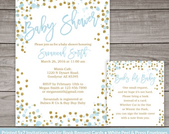Blue and Gold Baby Shower Invitations  - Blue and Gold Glitter Baby Shower Invites Baby Boy  Baby-249
