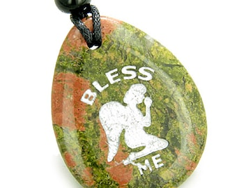 Bless Me Praying Guardian Angel Amulet Unakite Pendant Necklace
