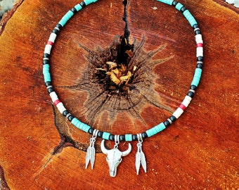 Southwestern Mens Necklace Native American Beaded Jewelry, turquoise necklace, buffalo skull necklace, mens tribal necklace, gift for him