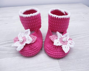 Crochet baby booties Flower Baby shoes Baby boots Baby girl shoes, Newborn baby booties, Crochet baby gift, Newborn baby gift, Baby crochet