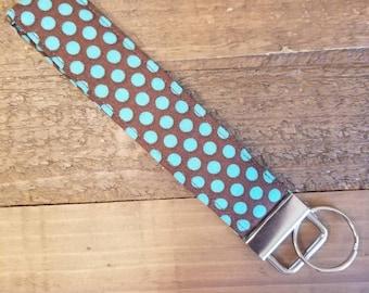 Turquoise and Brown Polka Dot Key FOB