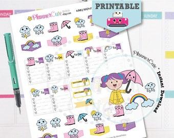 Rainy Day Stickers,  Kawaii Printable Planner Stickers, Weather Stickers, Cute Rain, Umbrella, Raincoat, Boots, Erin Condren, K002
