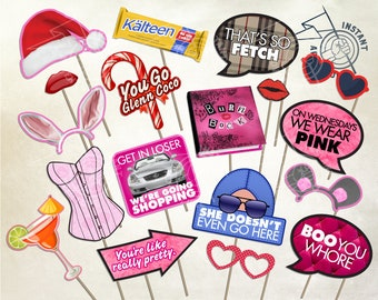 MEAN GIRLS Movie Inspired Photo Booth Party Props -Digital Download- Printable Decoration Cady Regina George Gretchen Wieners Fetch Plastics