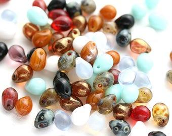 5x7mm Teadrops Multicolor beads mix, czech glass drops mix, small teardrops - 30pc - 2768