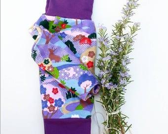 Baby girl's harem pants baby toddler pants purple cotton jersey knit Japanese landscape design
