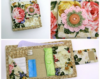 Hygiene Emergency Kit Woman Toiletry Purse Organizer Shabby Chic Cotton Fabric Privacy Feminine Pads Liners Holder Textile Carrier OOAK