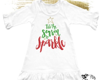 TIS THE SEASON To Sparkle Tee Tank Dress / Chistmas Baby Bodysuit / Girl's Holiday Outfit  / Baby's First Christmas / Santa Claus Tee Shirt
