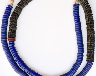 25 Inch Strand of Blue & Black Bohemian Disc Beads - Vintage African Trade Beads - BO488