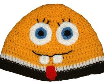 Hand Crocheted Sponge Bob inspired Hat HH 157