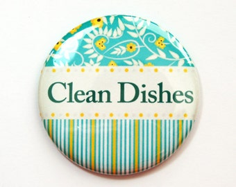 The dishes Are Clean, Dishwasher magnet, kitchen magnet, Clean Dishes, clean dishes magnet, Turquoise, Yellow, Green, Magnet (3684)