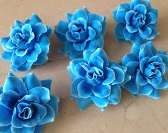 set of 6 flowers blue 4 cm