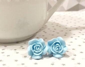 baby blue earrings, rose earrings, large stud earrings, jewelry earrings, blue wedding earrings, something blue for bride, rose gift ideas