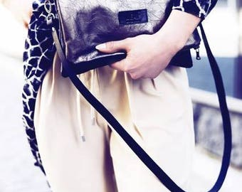 Leather Crossbody Bag, Shoulder Bag, Metal color Fold over Clutch, Oversized Fold Clutch / Glossy Leather Clutch / Convertible Clutch /