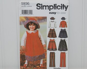 Simplicity 5936 Easy To Sew Toddler Outfits (c. 2002) Toddler Sizes 1/2-4, Jumper In 2 Lengths, Pants, Hat, Knit Top, Preschool Clothes