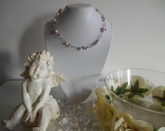 Elegant wedding necklace pearls purple and ivory