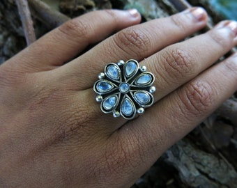 Size 6.5 Moonstone Blossom Sterling Silver Ring