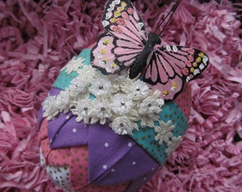 Folded fabric Easter Egg Decor, hand crafted