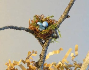 Miniature Fairy Garden Bird Nests - Stand Alone or in Tree Twig
