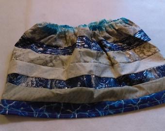 Handmade Custom Ribbon Skirt -  Blue and Silver