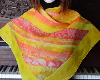 Hand made solar yellow and orange colors silk scarf