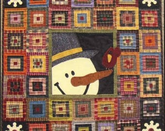 Cabin Friends Christmas Holiday Primitive Gatherings Log Cabin Snowman Wool Quilt Pattern