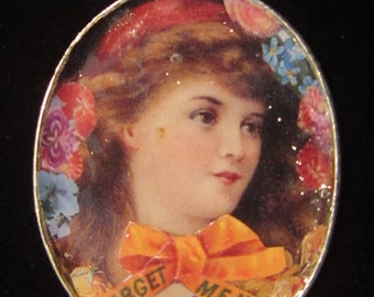 Victorian Paper Decoupage Pendant on Voile Ribbon