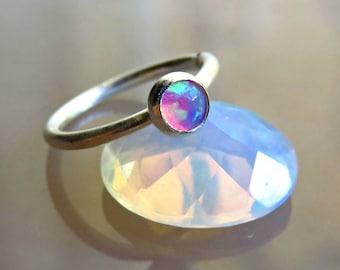 Pink Opal Nose Ring, Silver Nose Hoop- 16 Gauge Nose Ring - Cartilage Earring - Opal Cartilage Earring // Tragus Piercing 16G
