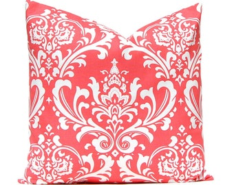 Coral Pillow Cover - Decorative Pillow - Coral Bedding -  One 18 x 18 Inches Damask Pillow Cover - Coral and White Bedroom Pillow