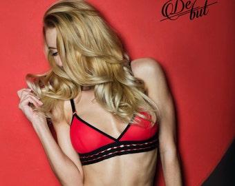 Red mesh bralette sexy bralette see through bra underwear woven band bralette intimate sexy harness
