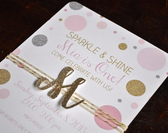 Sparkle and shine pink, gold and silver dots with glitter monogram initial or number birthday invitation, with envelopes