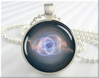Cats Eye Nebula Pendant, Space Photo Charm, The Cat's Eye Nebula Necklace, Resin Pendant, Round Silver, Space Gift, Hubble Picture 249RS