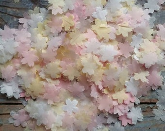 1200+ Wedding throwing confetti flower shaped !White & pink and Ivory/cream small size. Table Decoration.spring summer colours