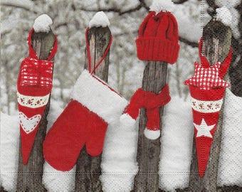 Christmas landscape design X 4 paper towel 309