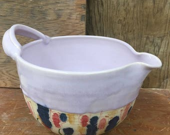 Large Porcelain Batter Bowl with Wildflowers and Color Changing Glaze