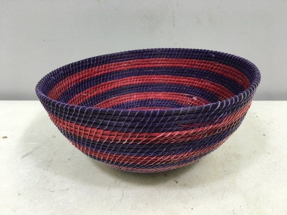 Basket African Lesotho Purple Red Woven South Africa Handmade Hand Woven Coiled Woman Unique SM32