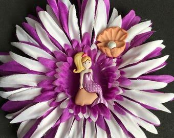 Mermaid hair flower clip