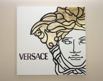 Versace Medusa Painting (20x20) Pop Art, Black, Gold Leaf, Home Wall Decor