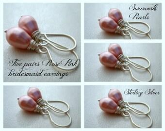 Bridesmaid Gift - Set of 5 - Bridesmaid Earrings - Pink Pearl Earrings - Pearl Drop Earrings - Swarovski Pearls - Simple pearl earrings