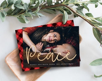 Editable Template - Instant Download Shimmering Peace Holiday Photo Card