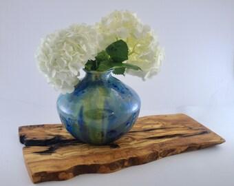 Ceramic Bottle Vase, Squatty, Crystalline Glaze, Ocean