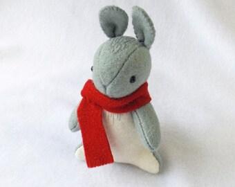 Woodland Animal Felt, Grey Rabbit Felt Doll, Collectible Woodland Bunny Soft Sculpture, Cute Gray Rabbit Mini Plush